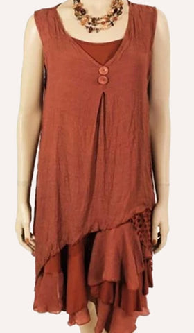 Two-Piece Sleeveless Dress/Tunic in Paprika