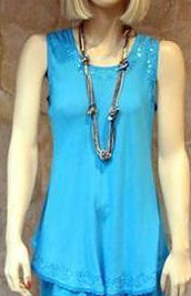 Bias Solid Turquoise Sleeveless Top