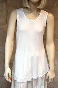 Bias Solid White Sleeveless Top