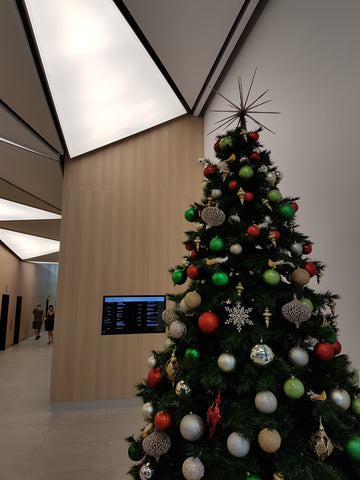 Christmas tree at airport lounge