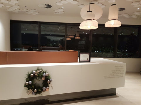 Christmas wreath reception desk