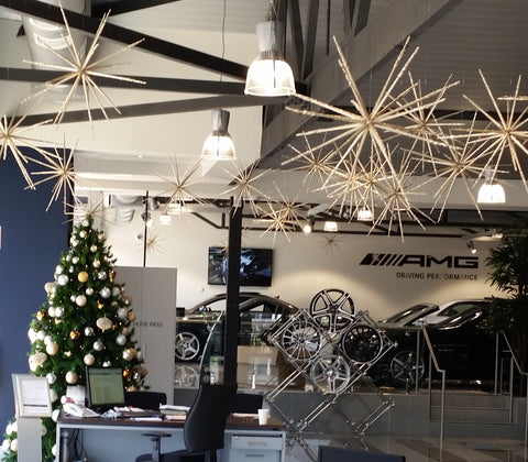 Custom decorated Christmas tree and Christmas decorations for Mercedes Benz