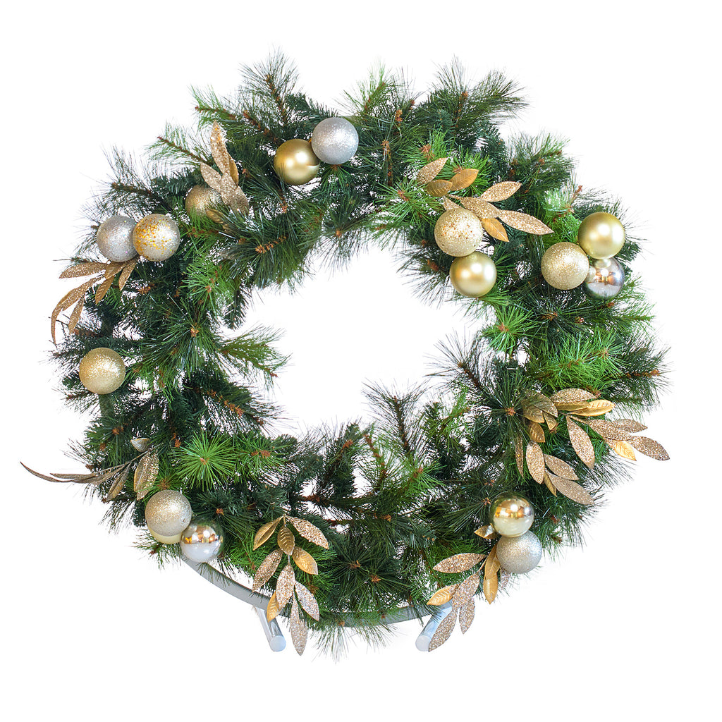 Professionally decorated Christmas wreath hire, on a white stand for tables, buffets, reception desks etc.
