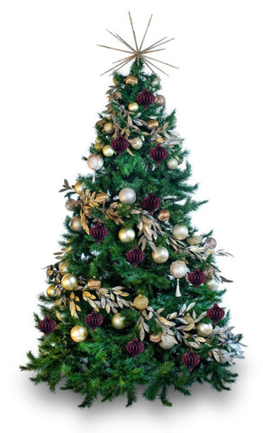 'Claret' LIMITED EDITION artificial decorated Christmas Tree - Hire
