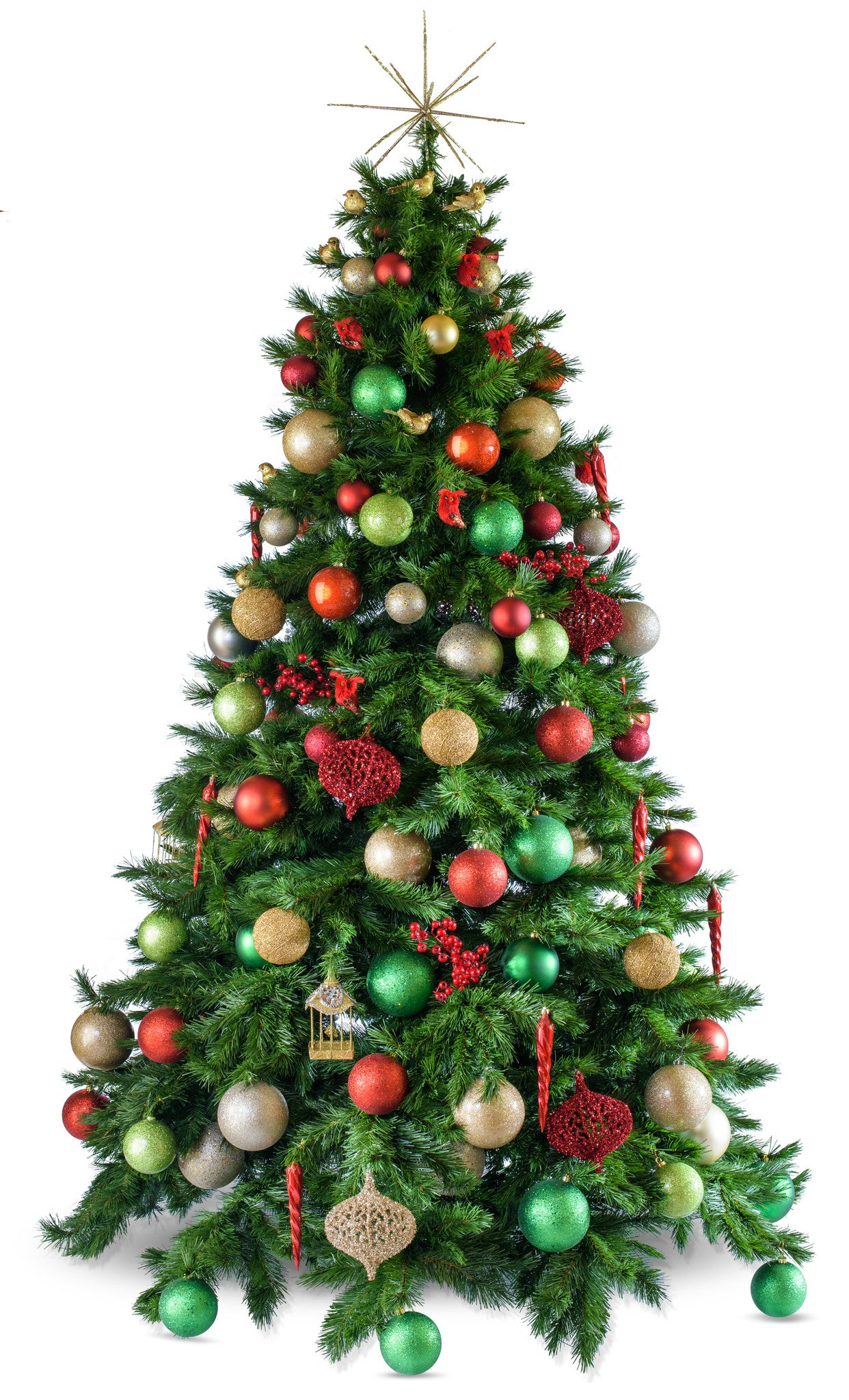 Traditional Christmas Tree.Traditional Artificial Decorated Christmas Tree Hire
