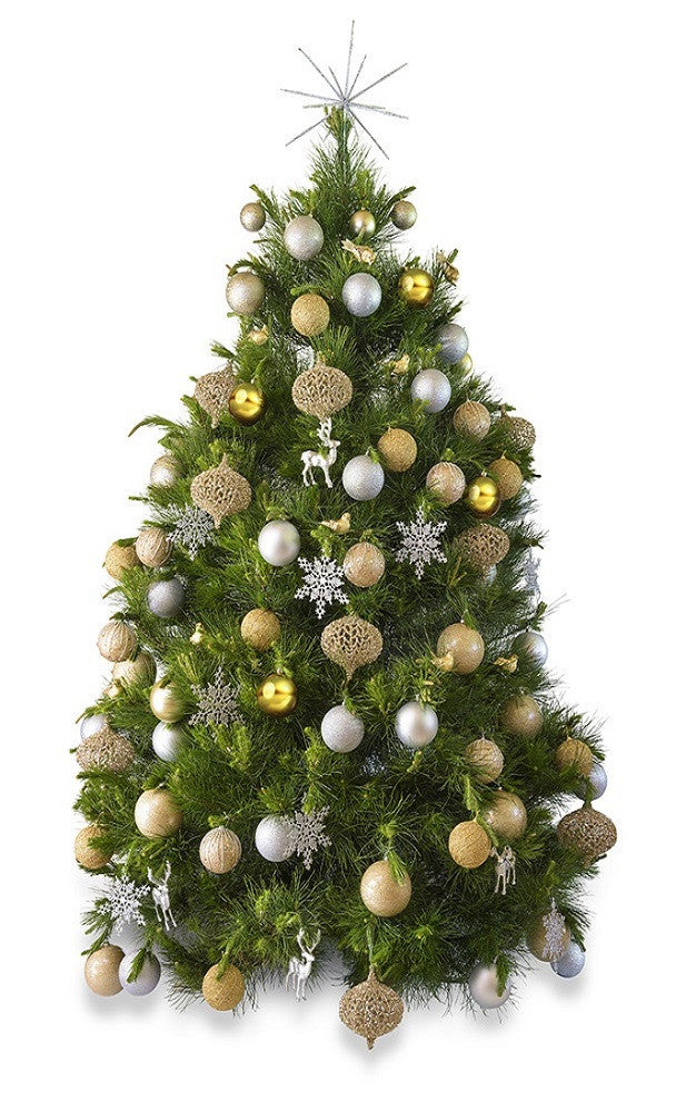 Rose Gold And Silver Christmas Tree.Metallic Real Decorated Christmas Tree Hire