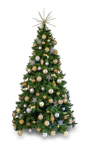 'Metallic' artificial decorated Christmas Tree - Hire