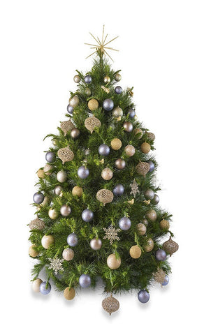 'Platinum' real decorated Christmas Tree - Hire