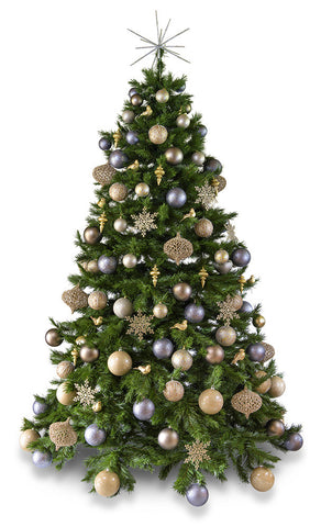 'Platinum' artificial decorated Christmas Tree - Hire