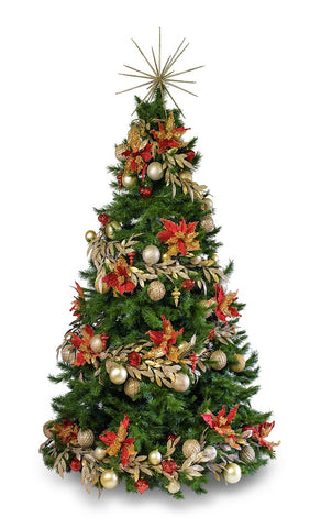 'Poinsettia' LIMITED EDITION artificial decorated Christmas Tree - Hire