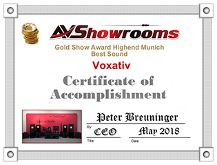Gold Show Award for Voxativ at the Munich Show 2018