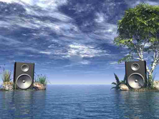 Sunken speakers on a deserted island