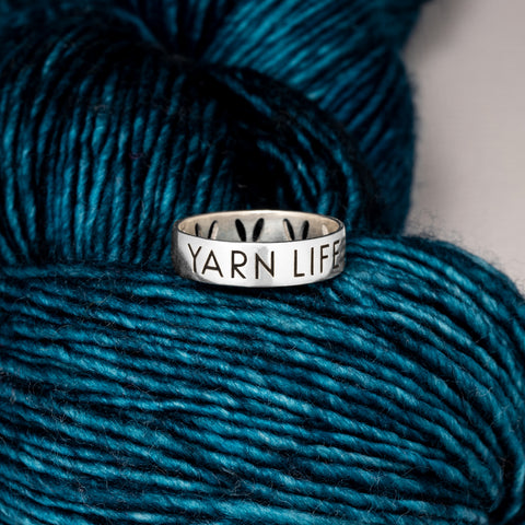 "Sterling Silver Luxury Stockinette Knit ""Yarn Life"" Ring for Knitters"