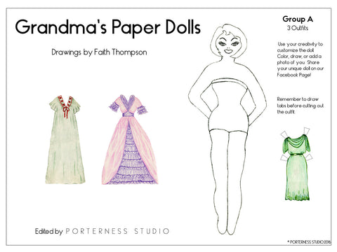 zFREE Grandmas Paper Doll - 1 Doll with 3 Outfits Group 1- PDF Download