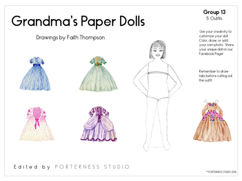 Grandma's Paper Doll - 1 Doll with 5 Outfits Group 13- PDF Download