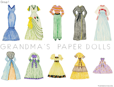 Grandma's Paper Doll - 1 Doll & 10 Outfits - Group 1 - Free PDF Download