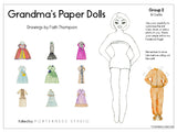Grandma's Paper Doll - 1 Doll with 10 Outfits Group 2- PDF Download
