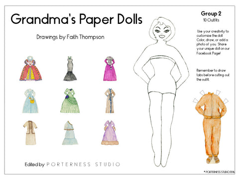 zGrandmas Paper Doll - 1 Doll with 10 Outfits Group 2- PDF Download