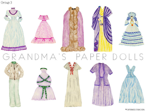 Grandmas Paper Doll - 1 Doll with 10 Outfits Group 3- PDF Download