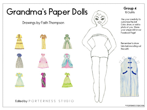 Grandma's Paper Doll - 1 Doll with 10 Outfits Group 4- PDF Download