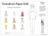 zGrandmas Paper Doll - 1 Doll with 10 Outfits Group 5- PDF Download