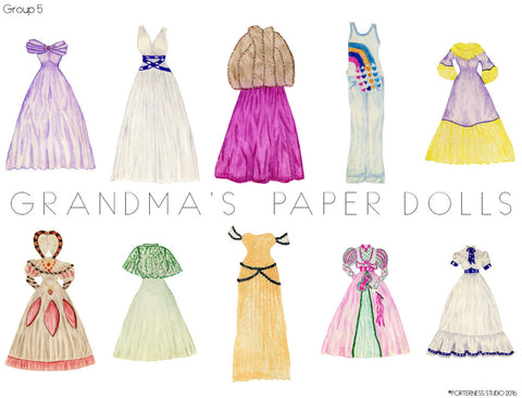Grandma's Paper Doll - 1 Doll with 10 Outfits Group 5- PDF Download