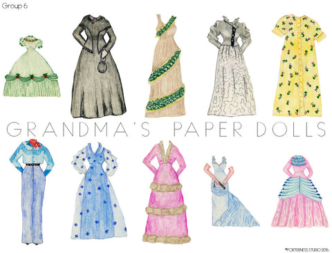 Grandma's Paper Dolls - 1 Doll with 10 Outfits Group 6- PDF Download