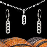 SALE! Sterling Silver Stockinette Stitch Motif Set - Earrings & Stitch Marker Necklace