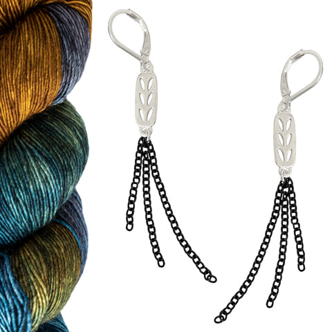Silver Stockinette Stitch Motif Earrings - Let Your Ends Hang Out Contrast Color