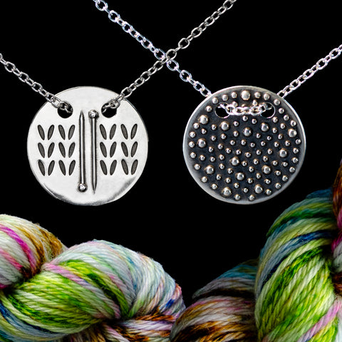 Sterling Silver Double Sided Knitting Needles Stockinette Stitch & Demi-Sec Necklace - Chain Through Style