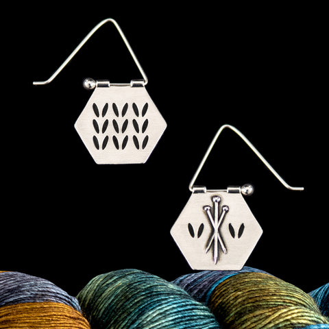 Silver Double Sided Knitting Earrings- Stockinette Stitch & Needle Motif