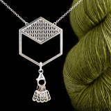 Sterling Silver Hexagon Stockinette Stitch Marker Necklace