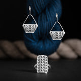 Sterling Silver Stockinette Stitch Motif Earrings - Project Bag