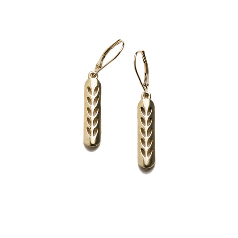 14K Gold Stockinette Stitch Motif Earrings-Short Row