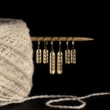 18k Gold Plated on Sterling Silver Stockinette Stitch Motif Earrings-Short Row
