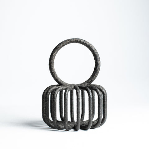 Porterness Studio Black Matte Steel 3D Printed Round Boxy Ring