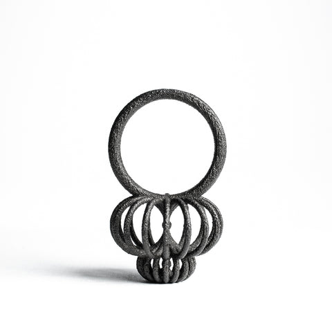 Porterness Studio Black Matte Steel 3D Printed Bun Bun Ring