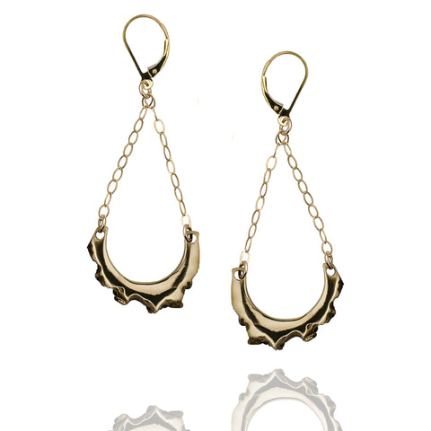 Bronze And Gold Bitey Earrings That Swing