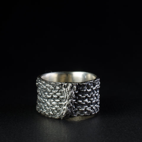 Porterness Studio Silver Knit Stitch Fiber Ring