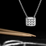Stockinette Motif Swatch Necklace in Sterling Silver for Yarn Lovers