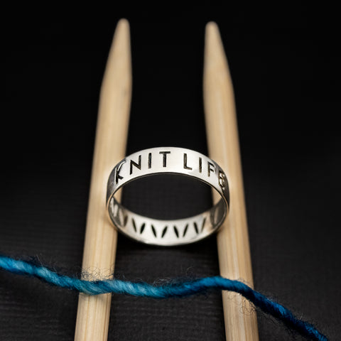 "Sterling Silver ""Knit Life"" & Stockinette Stitch Motif Ring"