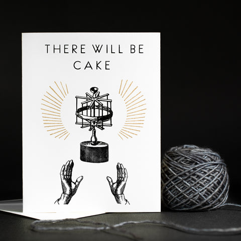 "4 ""There Will Be Cake"" Hand Screen Printed Yarn Greeting Card Set"