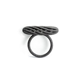 Porterness Studio Black Matte Steel 3D Printed Hank Twist Ring