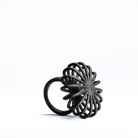 Porterness Studio Black Matte Steel 3D Printed Blossom Ring