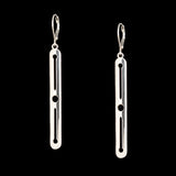 Sterling Silver Long Knitting Needle & Yarn Motif Earrings