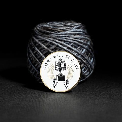 "Gifts for yarn dyer ""There Will Be Cake"" Enamel Pin with Yarn Swift"
