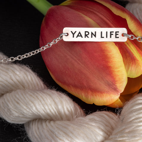 "Porterness Studio Sterling Silver Double Sided ""Yarn Life"" Mini & Stockinette Stitch Motif Necklace Yarn Jewelry"
