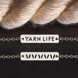"Yarn Jewelry by Porterness Studio Sterling Silver Double Sided ""Yarn Life"" Mini & Stockinette Stitch Motif Necklace"