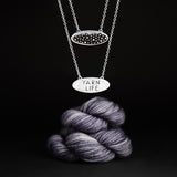"Sterling Silver Double Sided ""Yarn Life"" Demi-Sec Necklace -Gifts for Knitters"
