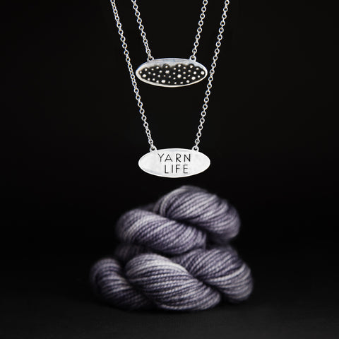 "SALE !!! Sterling Silver Stitch Double Sided ""Yarn Life"" Necklace"
